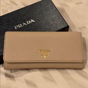 Prada Nude Large Leather Flap Wallet